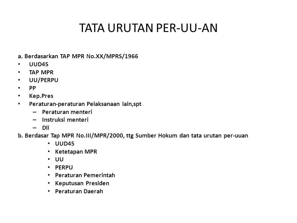 TATA URUTAN PER-UU-AN a. Berdasarkan TAP MPR No.XX/MPRS/1966 UUD45