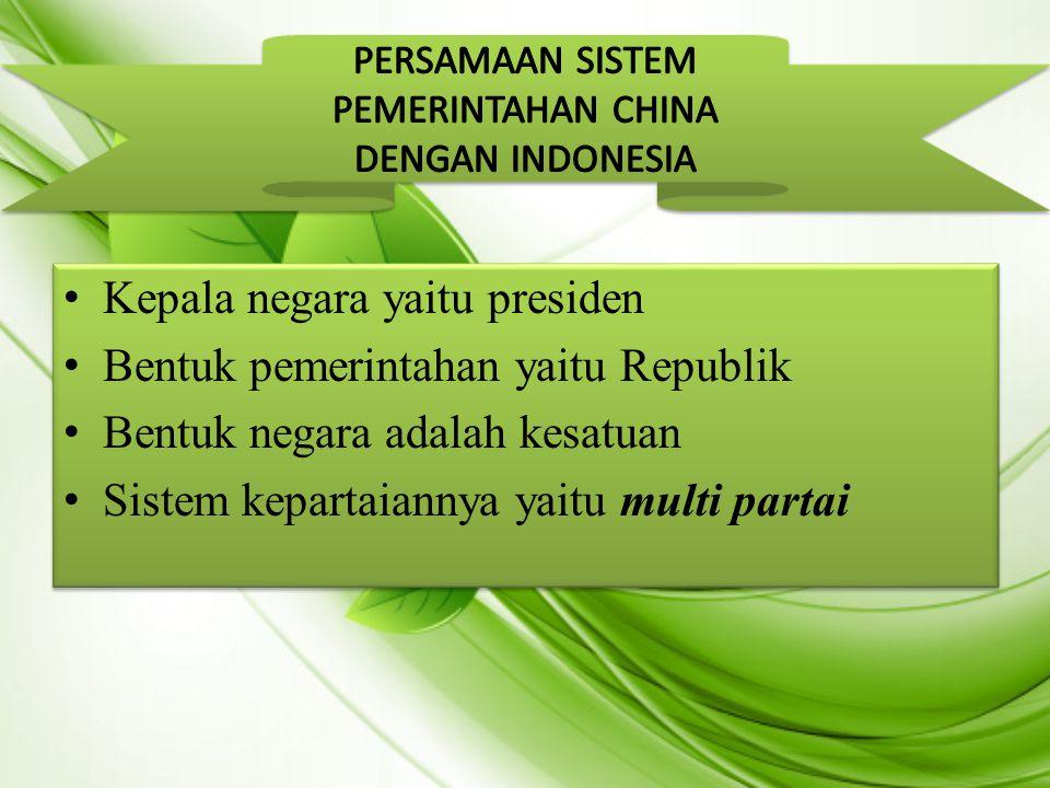 PERSAMAAN SISTEM PEMERINTAHAN CHINA DENGAN INDONESIA
