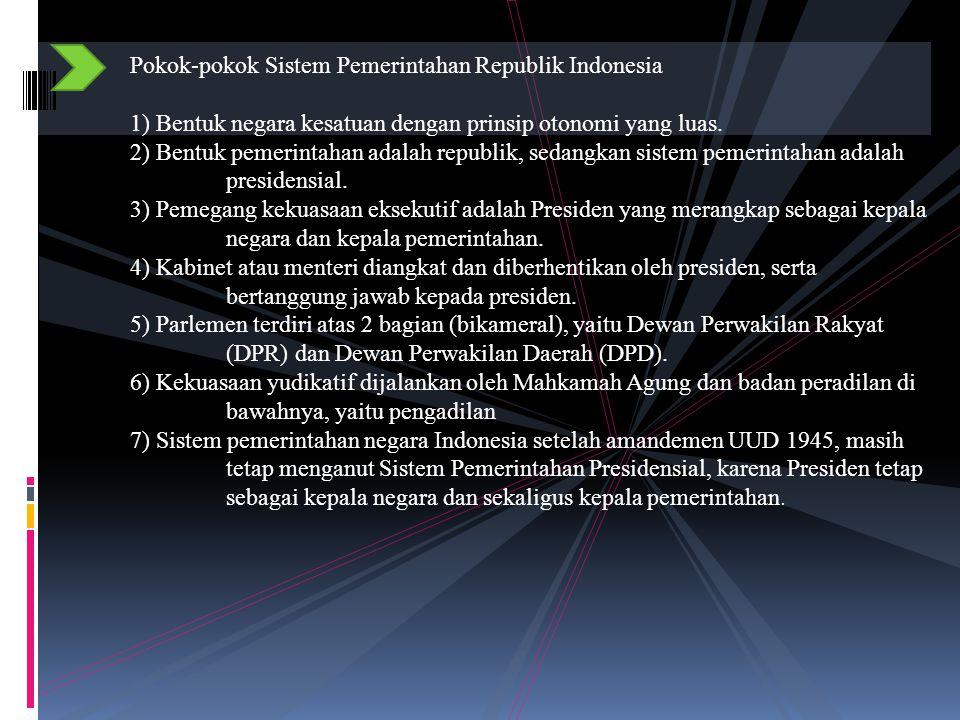 Pokok-pokok Sistem Pemerintahan Republik Indonesia