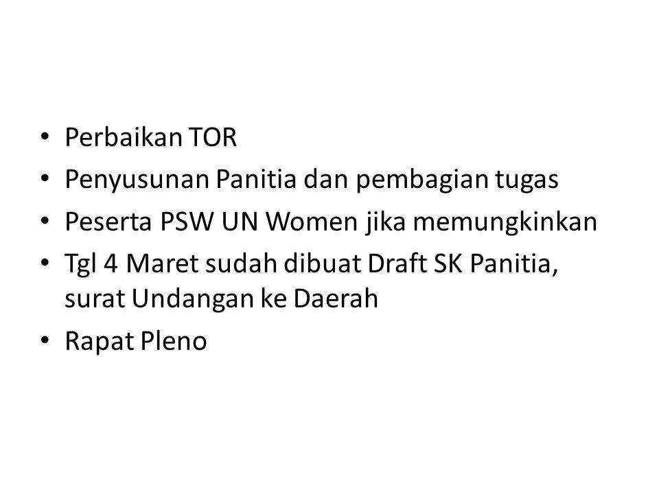 Perbaikan TOR Penyusunan Panitia dan pembagian tugas. Peserta PSW UN Women jika memungkinkan.