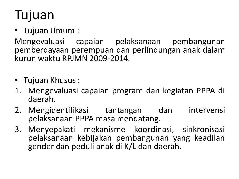 Tujuan Tujuan Umum : Mengevaluasi capaian pelaksanaan pembangunan pemberdayaan perempuan dan perlindungan anak dalam kurun waktu RPJMN 2009-2014.