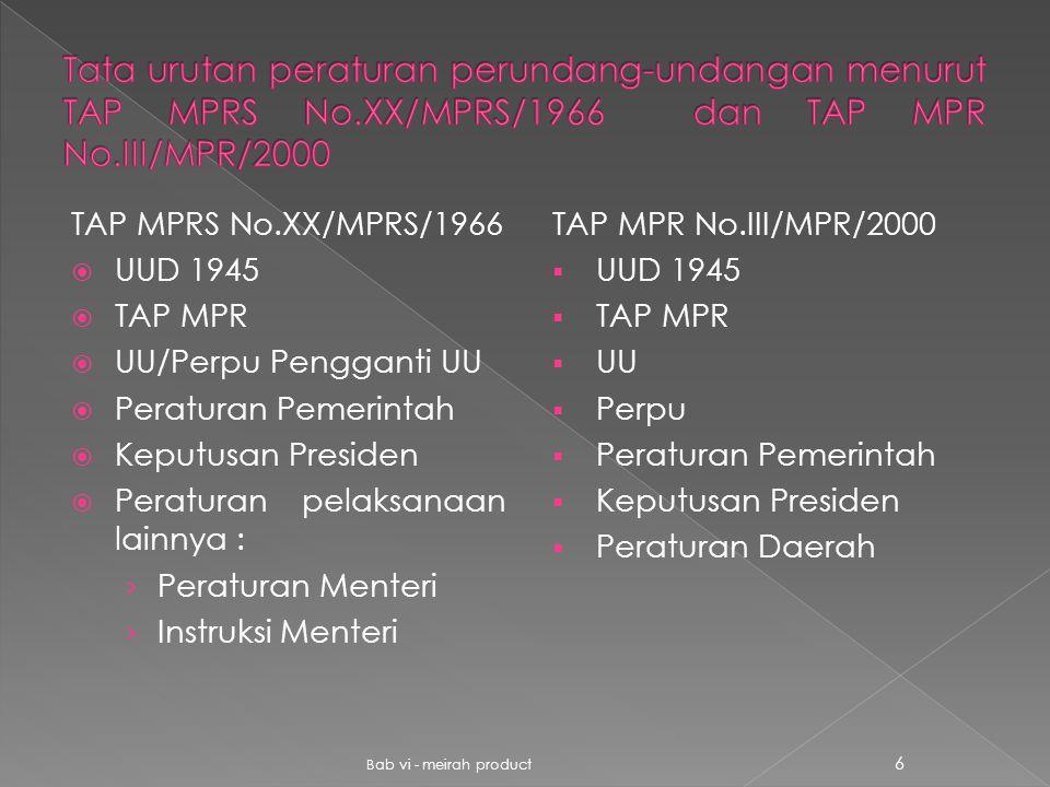 Tata urutan peraturan perundang-undangan menurut TAP MPRS No