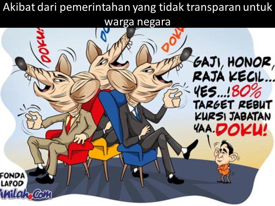 Akibat dari pemerintahan yang tidak transparan untuk warga negara