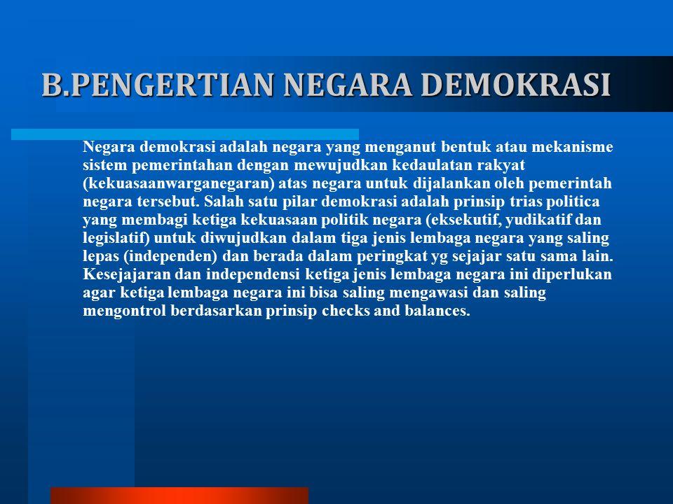 B.PENGERTIAN NEGARA DEMOKRASI