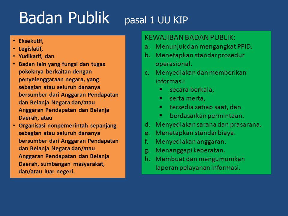 Badan Publik pasal 1 UU KIP