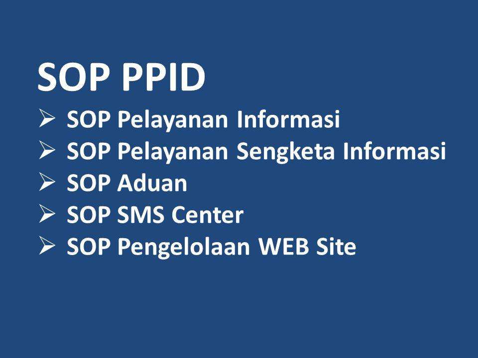 SOP PPID SOP Pelayanan Informasi SOP Pelayanan Sengketa Informasi