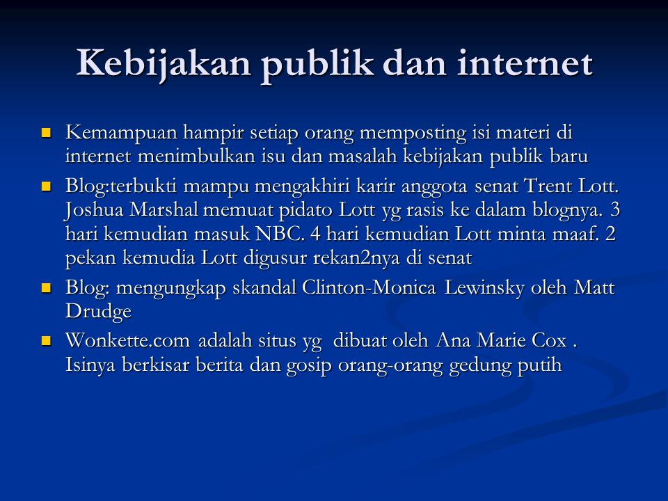 Kebijakan publik dan internet