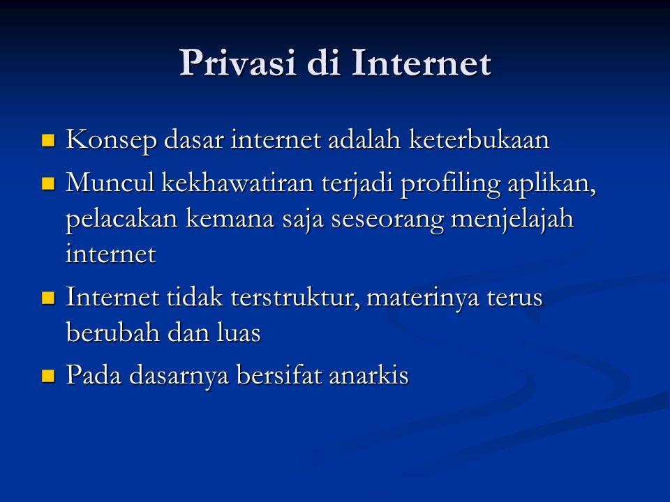 Privasi di Internet Konsep dasar internet adalah keterbukaan