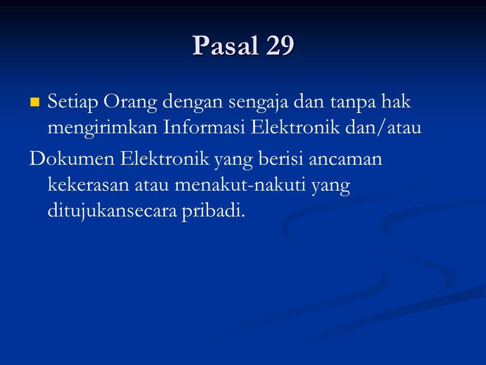 Pasal 29 Setiap Orang dengan sengaja dan tanpa hak mengirimkan Informasi Elektronik dan/atau.
