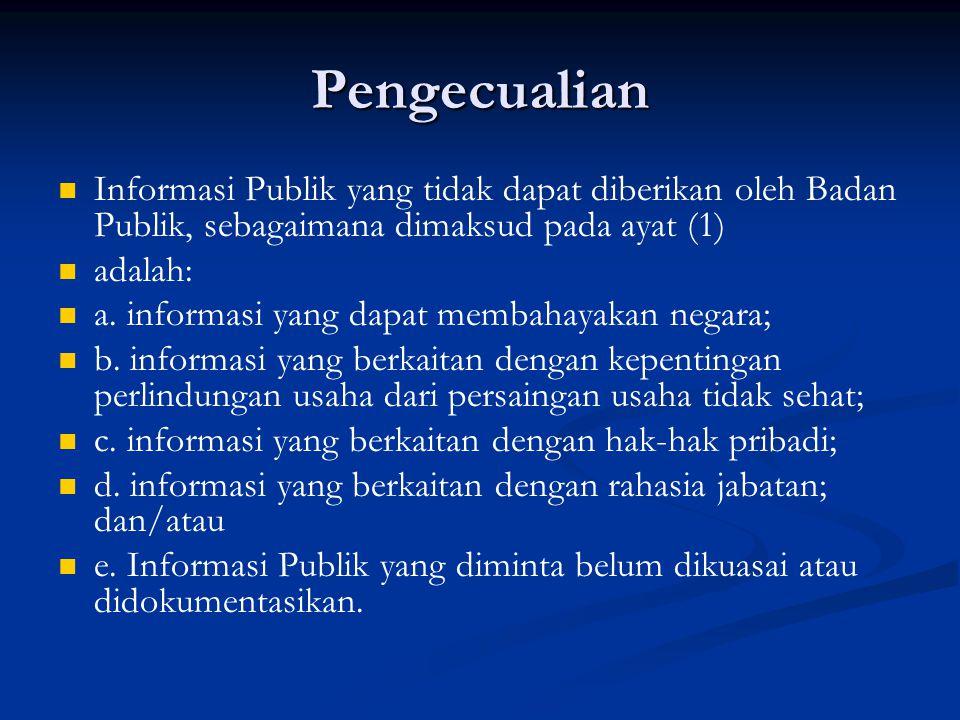 Pengecualian Informasi Publik yang tidak dapat diberikan oleh Badan Publik, sebagaimana dimaksud pada ayat (1)
