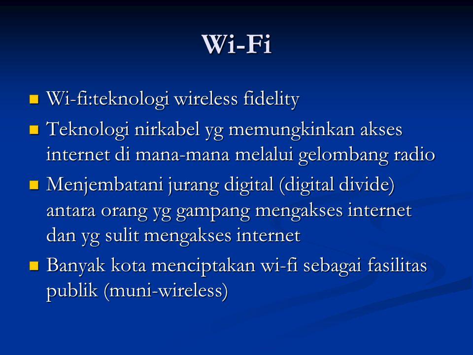 Wi-Fi Wi-fi:teknologi wireless fidelity
