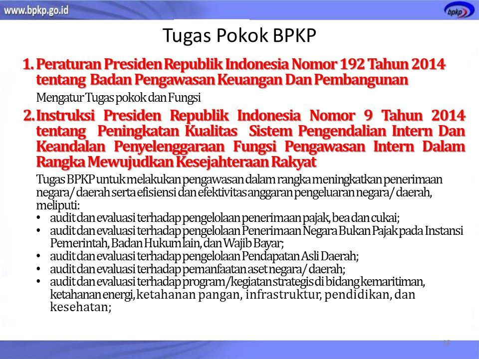 Tugas Pokok BPKP Peraturan Presiden Republik Indonesia Nomor 192 Tahun 2014 tentang Badan Pengawasan Keuangan Dan Pembangunan.