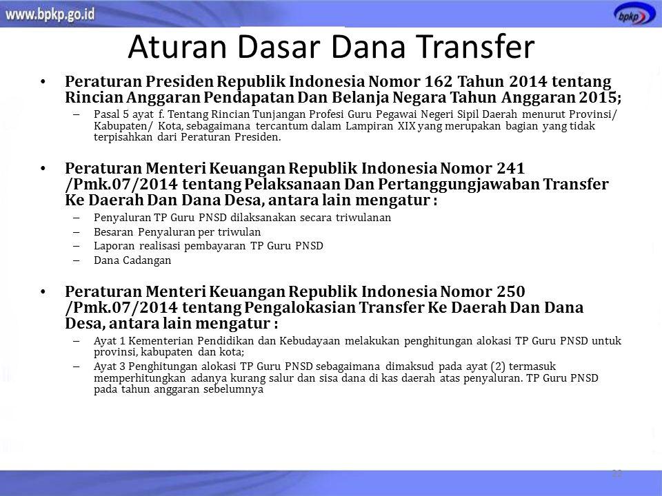Aturan Dasar Dana Transfer