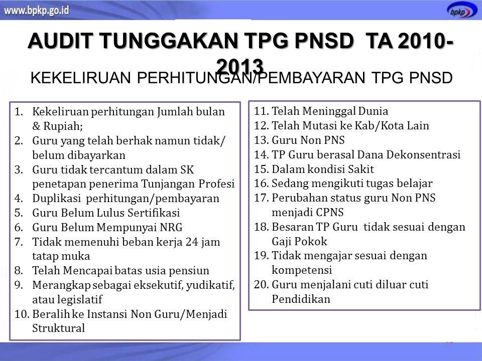 AUDIT TUNGGAKAN TPG PNSD TA 2010-2013