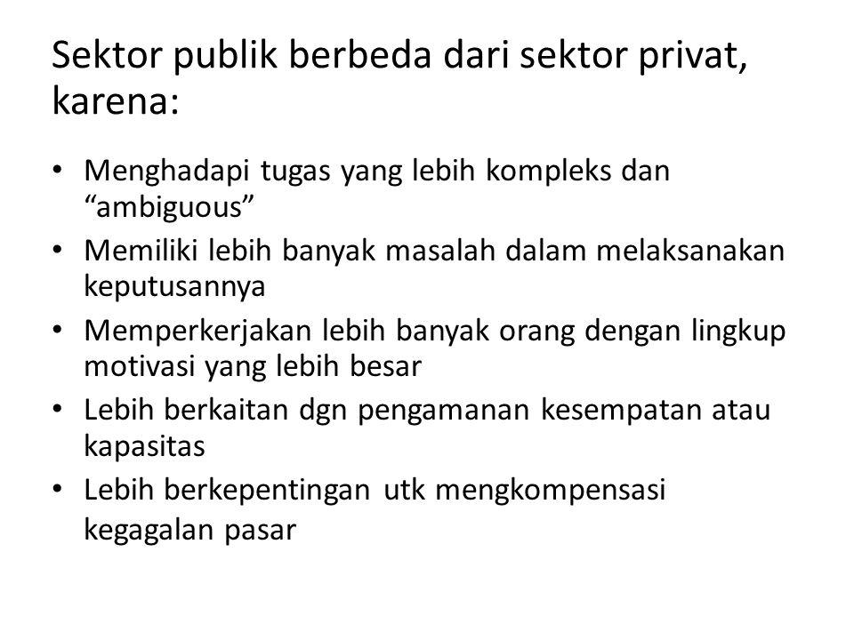 Sektor publik berbeda dari sektor privat, karena: