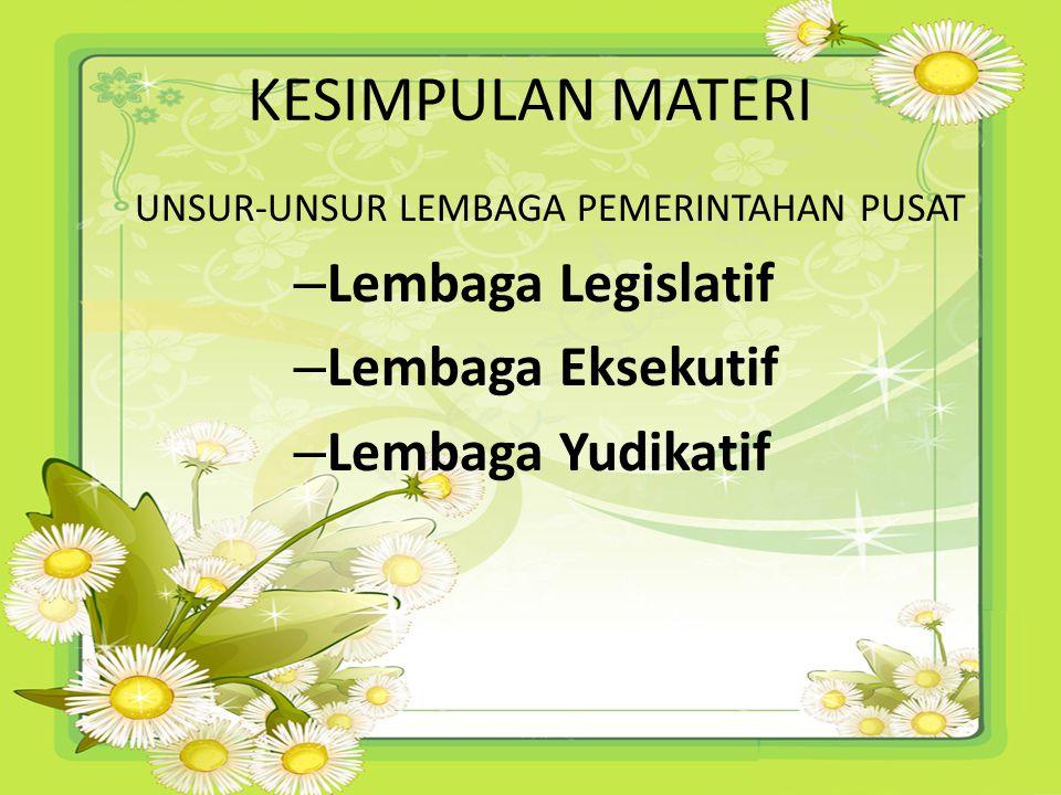 KESIMPULAN MATERI Lembaga Legislatif Lembaga Eksekutif