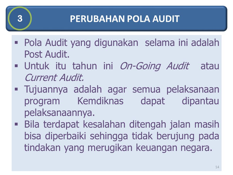 PERUBAHAN POLA AUDIT 3. Pola Audit yang digunakan selama ini adalah Post Audit. Untuk itu tahun ini On-Going Audit atau Current Audit.