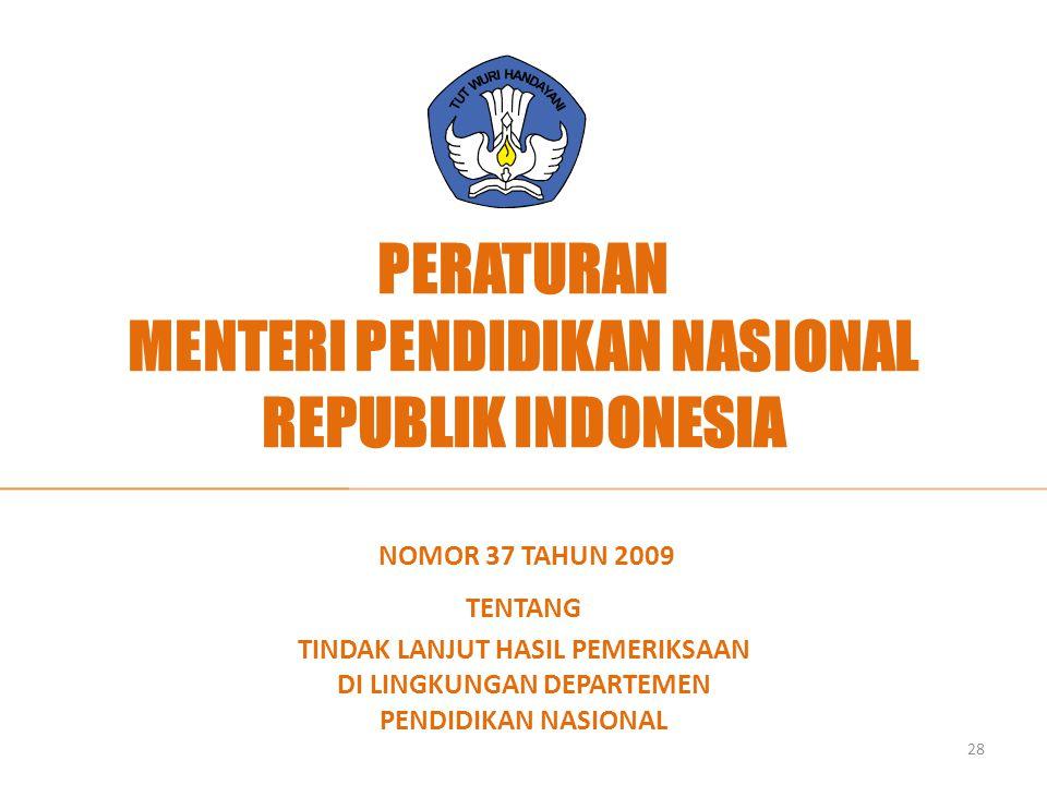 PERATURAN MENTERI PENDIDIKAN NASIONAL REPUBLIK INDONESIA NOMOR 37 TAHUN 2009