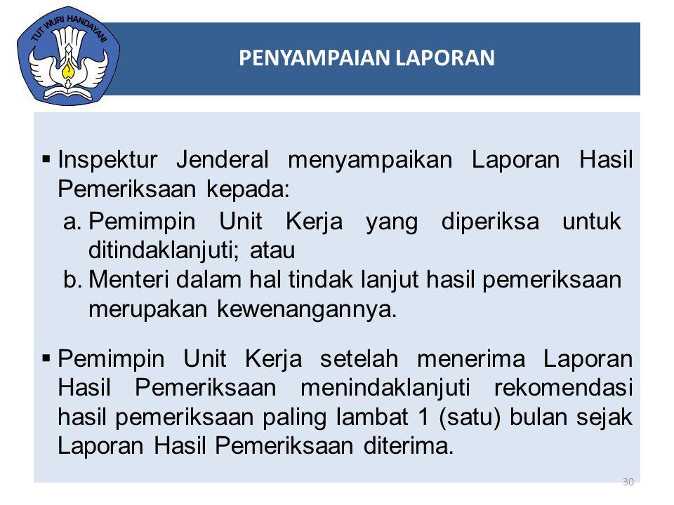 PENYAMPAIAN LAPORAN Inspektur Jenderal menyampaikan Laporan Hasil Pemeriksaan kepada: