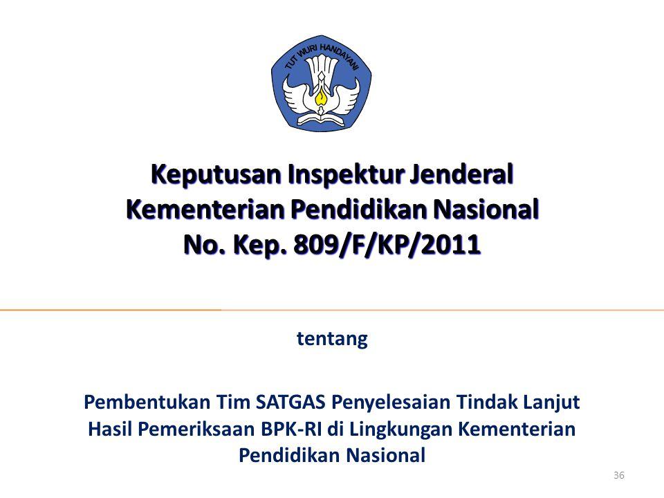 Keputusan Inspektur Jenderal Kementerian Pendidikan Nasional No. Kep