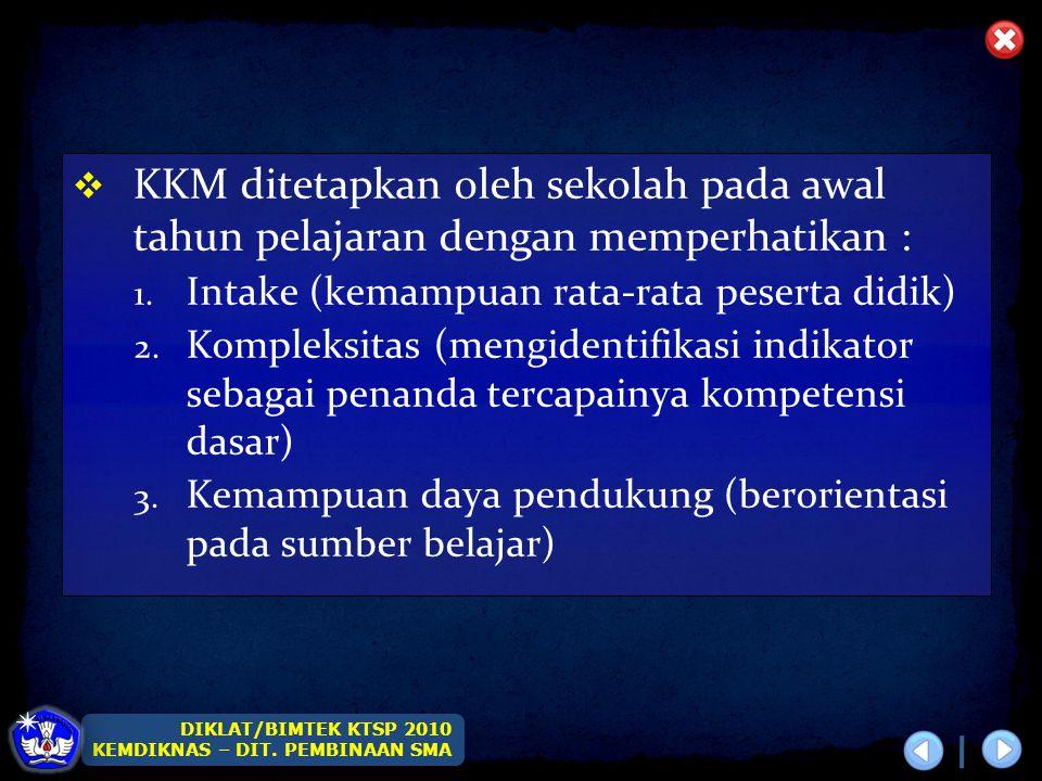 KKM ditetapkan oleh sekolah pada awal tahun pelajaran dengan memperhatikan :