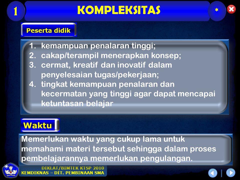KOMPLEKSITAS 1 * kemampuan penalaran tinggi;