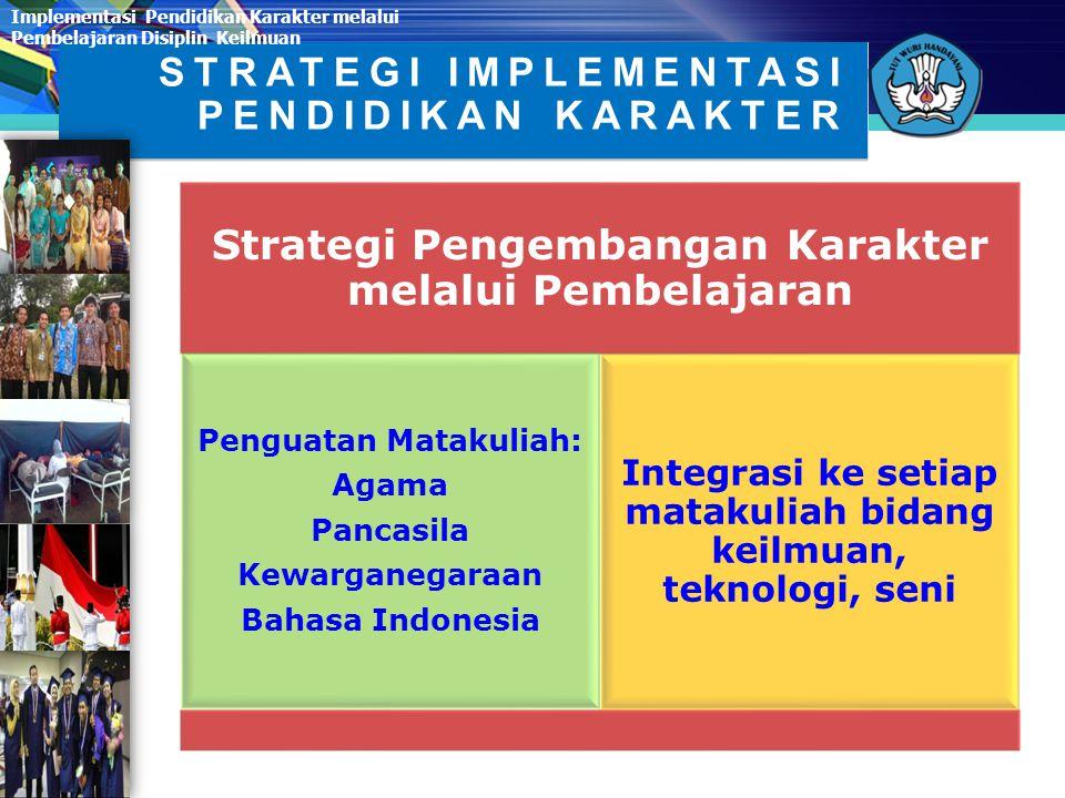 Strategi Pengembangan Karakter melalui Pembelajaran