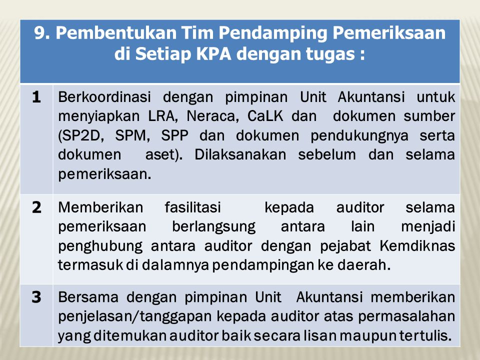 9. Pembentukan Tim Pendamping Pemeriksaan di Setiap KPA dengan tugas :