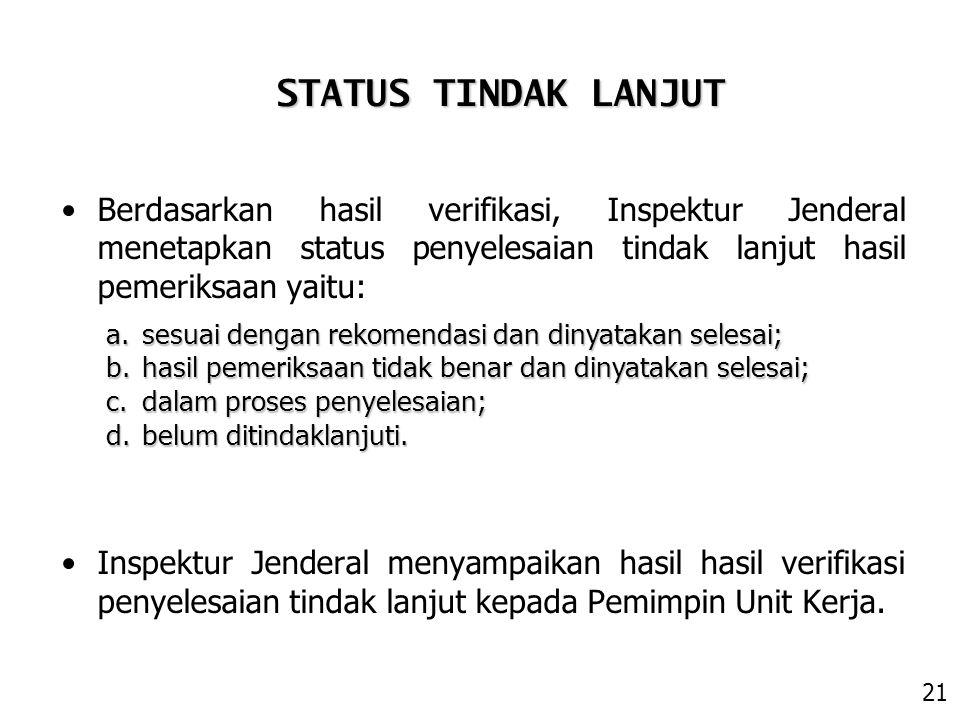 STATUS TINDAK LANJUT Berdasarkan hasil verifikasi, Inspektur Jenderal menetapkan status penyelesaian tindak lanjut hasil pemeriksaan yaitu: