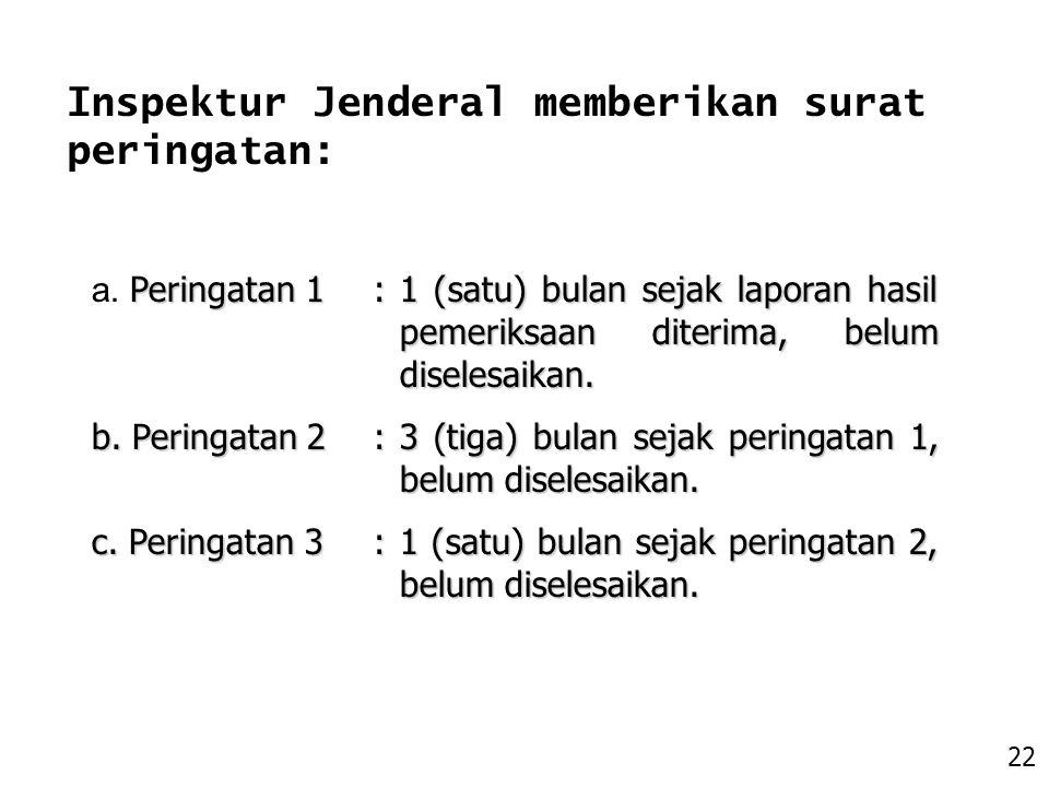 Inspektur Jenderal memberikan surat peringatan: