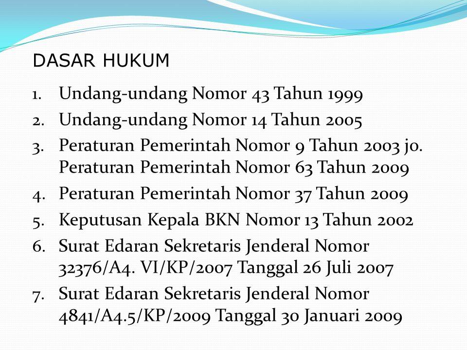 DASAR HUKUM Undang-undang Nomor 43 Tahun 1999. Undang-undang Nomor 14 Tahun 2005.