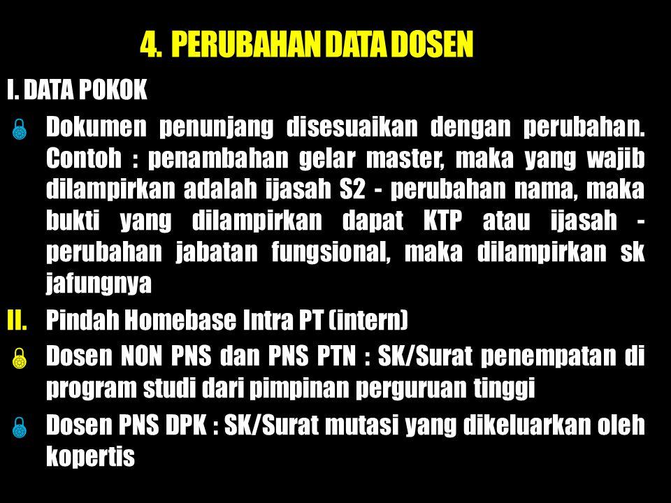 4. PERUBAHAN DATA DOSEN I. DATA POKOK
