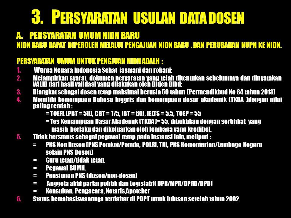 3. PERSYARATAN USULAN DATA DOSEN