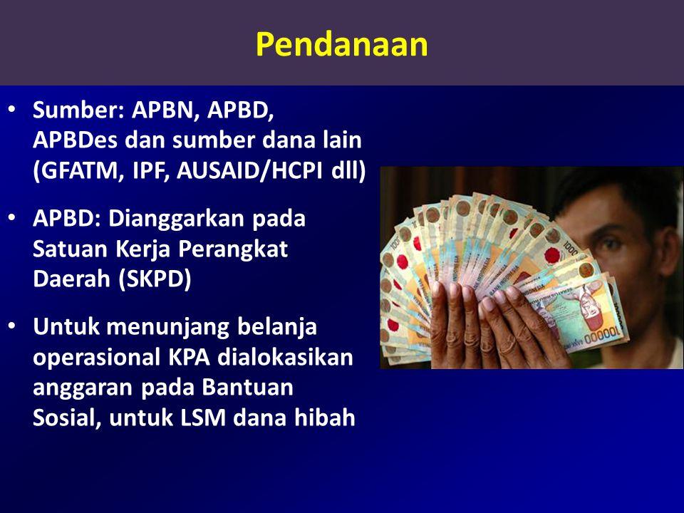 Pendanaan Sumber: APBN, APBD, APBDes dan sumber dana lain (GFATM, IPF, AUSAID/HCPI dll)