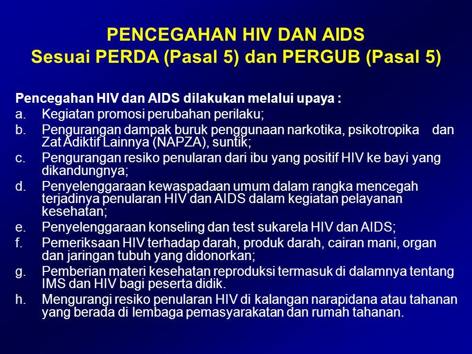 PENCEGAHAN HIV DAN AIDS Sesuai PERDA (Pasal 5) dan PERGUB (Pasal 5)