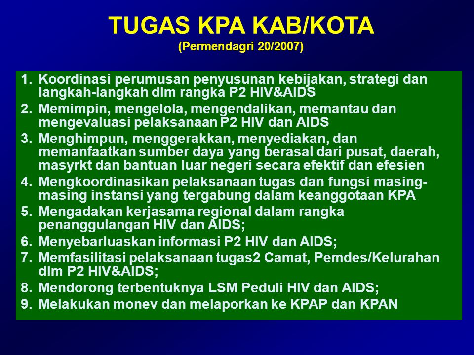 TUGAS KPA KAB/KOTA (Permendagri 20/2007)