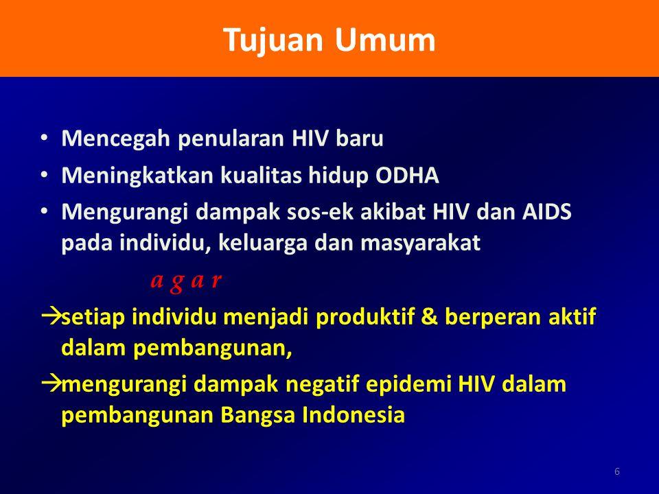 Tujuan Umum Mencegah penularan HIV baru