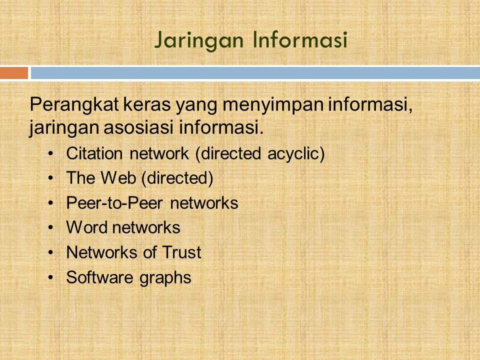 Jaringan Informasi Perangkat keras yang menyimpan informasi, jaringan asosiasi informasi. Citation network (directed acyclic)