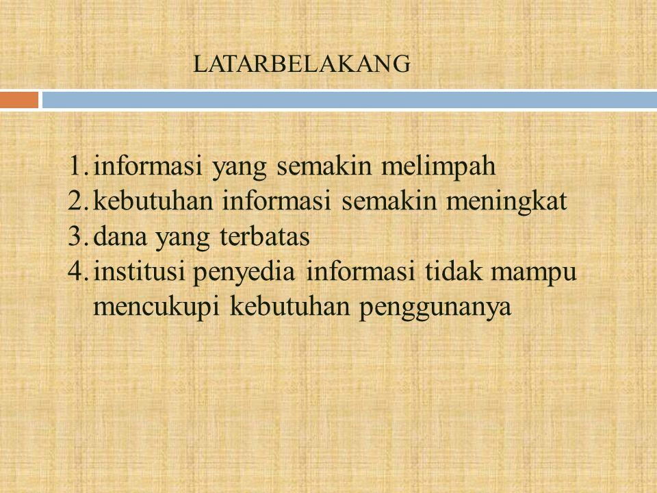 informasi yang semakin melimpah kebutuhan informasi semakin meningkat