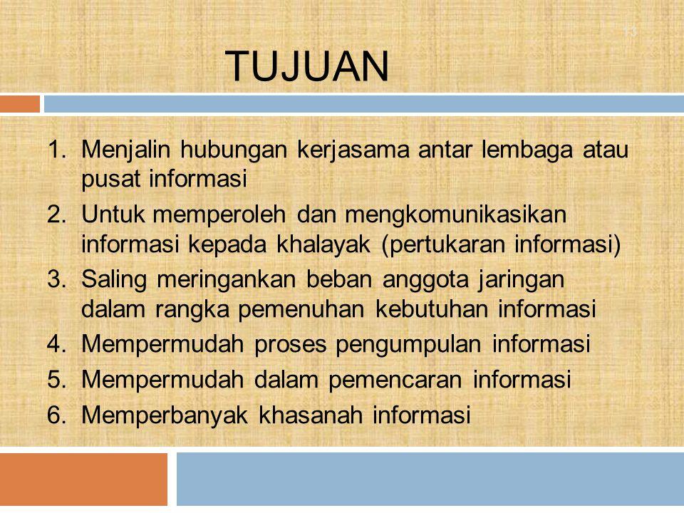 TUJUAN Menjalin hubungan kerjasama antar lembaga atau pusat informasi