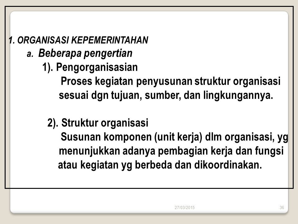Proses kegiatan penyusunan struktur organisasi