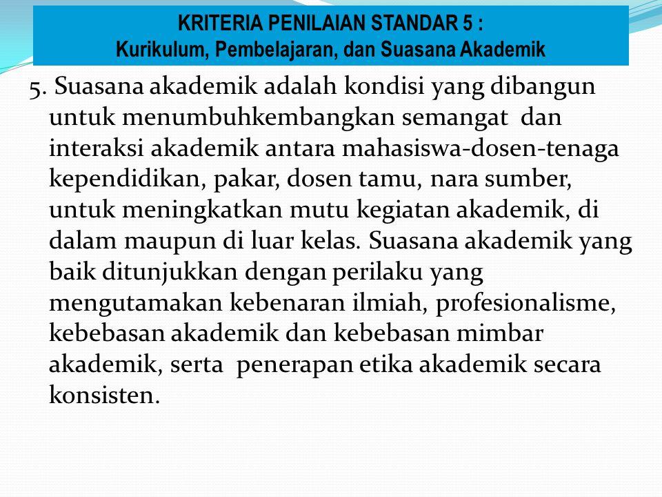 KRITERIA PENILAIAN STANDAR 5 :