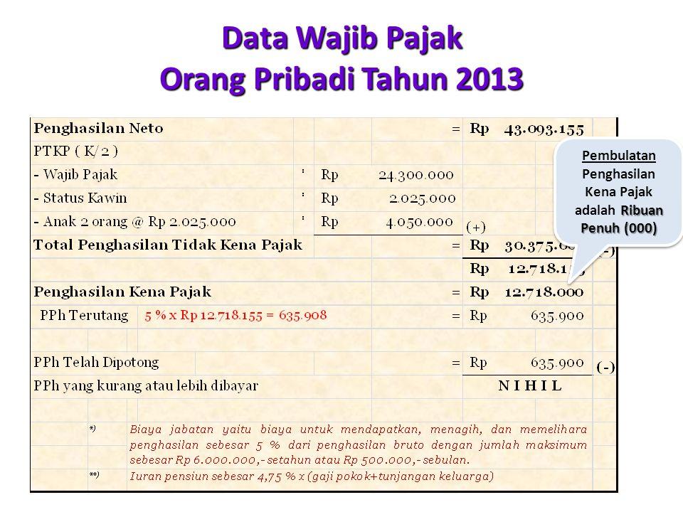 Data Wajib Pajak Orang Pribadi Tahun 2013