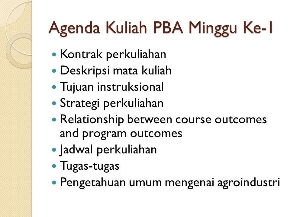 Agenda Kuliah PBA Minggu Ke-1