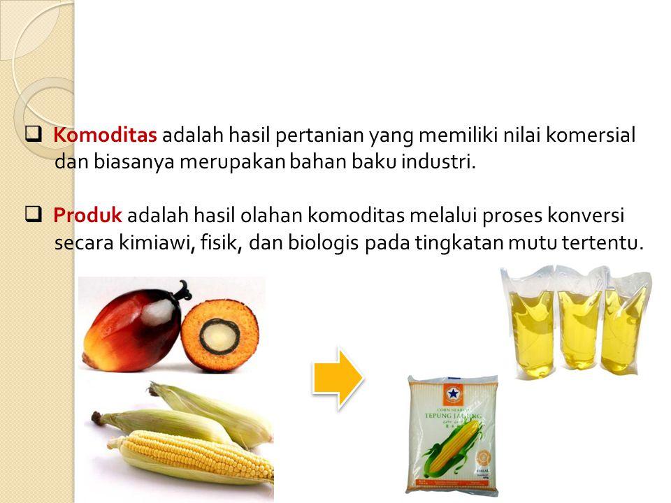 Komoditas adalah hasil pertanian yang memiliki nilai komersial