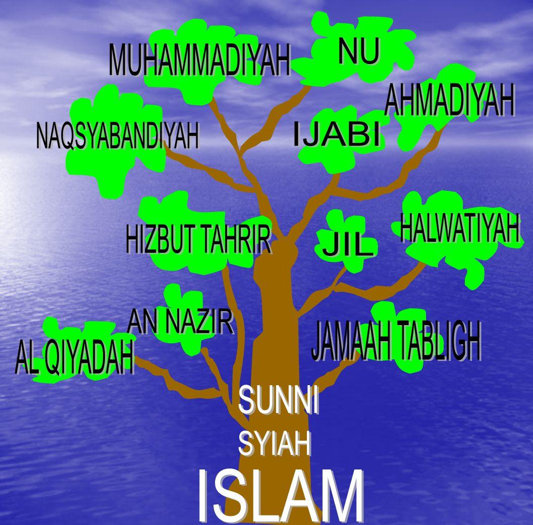 NU MUHAMMADIYAH. AHMADIYAH. NAQSYABANDIYAH. IJABI. HALWATIYAH. HIZBUT TAHRIR. JIL. AN NAZIR.