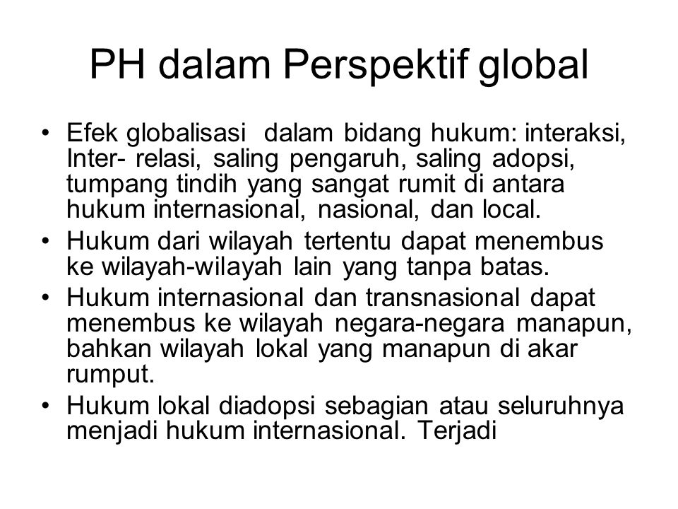 PH dalam Perspektif global