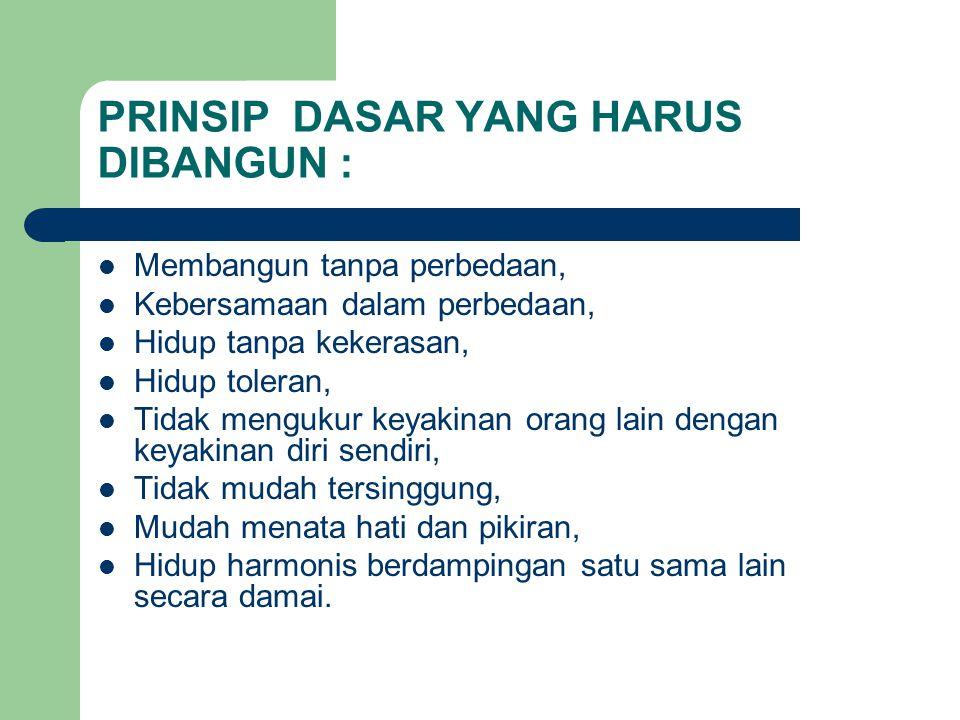 PRINSIP DASAR YANG HARUS DIBANGUN :