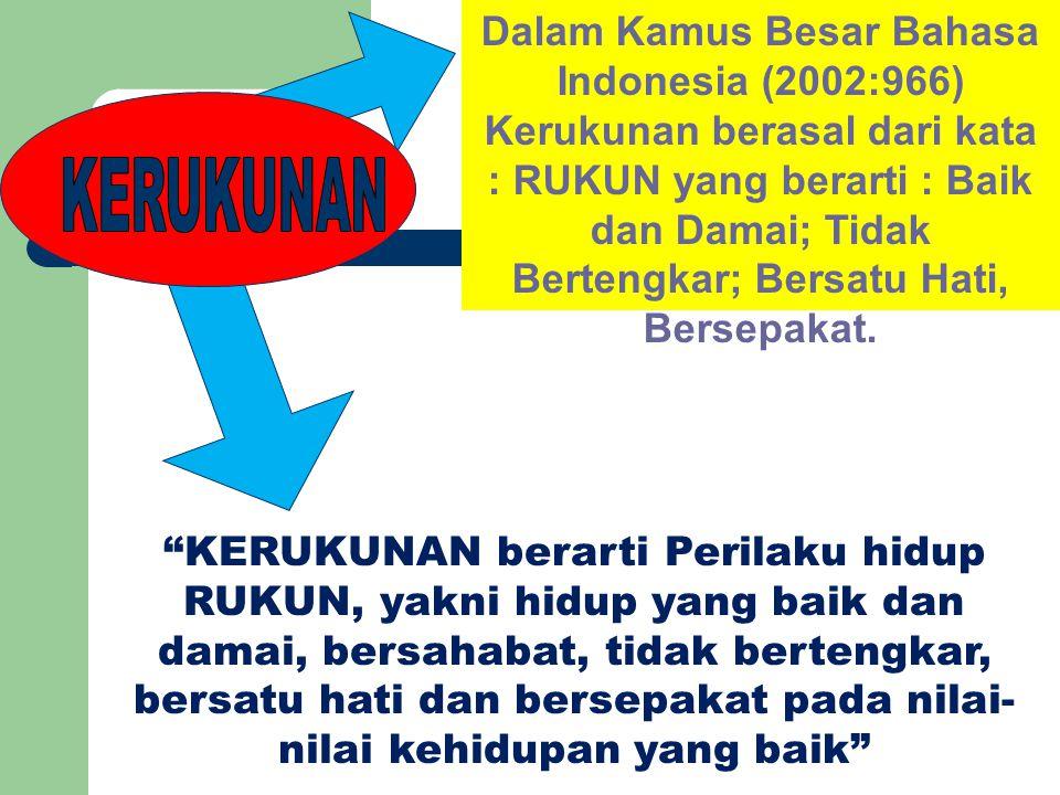 Dalam Kamus Besar Bahasa Indonesia (2002:966) Kerukunan berasal dari kata : RUKUN yang berarti : Baik dan Damai; Tidak Bertengkar; Bersatu Hati, Bersepakat.