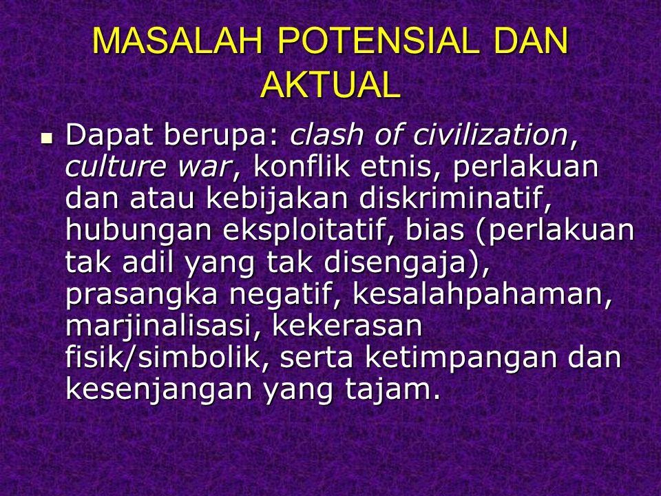 MASALAH POTENSIAL DAN AKTUAL